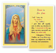 Immaculate Heart of Mary, Prayer to Our Lady Laminated Holy Card