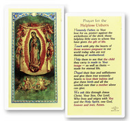 Prayer for the Unborn OL of Guadalupe Laminated Holy Card  Clear, laminated Italian holy cards with gold accents. Features World Famous Fratelli-Bonella Artwork. 2.5'' X 4.5''