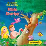 """Within each page of the board book is hidden a Bible story. All that is required of the child is to pull apart the illustration to reveal the story.  The book has 10 stories. 12 pages. Size 7.5"""" x 7.25"""". Written by Rev. Thomas J. Donaghy"""