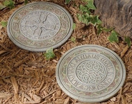 """10 3/4"""" Celtic Stepping Stone. Stepping Stones measure 10 3/4""""Dia. Stepping stones have a hook and may also be hung.  Choose: """"May God Hold You in the Palm of His Hand"""" or """"May You Always Walk in Sunshine"""" Stepping stones are made of a resin/stone mix"""