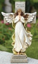 """12""""H Memorial Angel and Cross. Made of a Resin Stone Mix. Actual dimensions: 11.75""""H x 7""""W x 3.25""""D"""