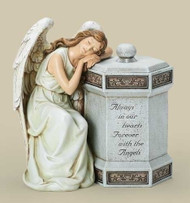 "Resin Stone Mix. Saying on front of box: ""Always in our hearts, forever with the angels."" Dimensions: 11.75""H x 11""W x 7.75""D"