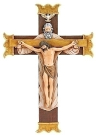 "The Holy Trinity Crucifix. The Holy Trinity Crucifix is made of a resin/stone mix material. The dimensions of the Holy Trinity Crucifix are: 10.13""H x 7""W x 1""D."