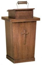 "Lectern with two inside shelves  Dimesnions: 46"" height, 36"" width, 21"" depth  Brass lamp available at additional charge"