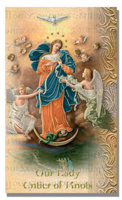 Our Lady Untier of Knots 2 Page Biography, Name Meaning, Patron Attributes, Prayer to Saint, Feast Day. Gold Stamped Italian Art