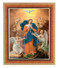 """Our Lady Untier of Knots in a natural tiger cherry finished frame with finely detailed gold leaf edge. 10"""" x 12"""" Overall Dimensions. 1.25"""" Wide Facing to Fit an 8"""" x 10"""" Italian Lithograph Under Glass."""