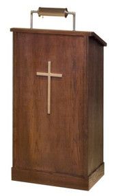 "Lectern with extended shelf for lamp and microphone  Two inside shelves and a wood cross  Dimensions: 45"" height, 24"" width, 20"" depth  Brass lamps and symbols are available for additional charge"