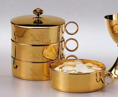 """Gold stacking ciboria is hand engraved wheat and grape motifs. Diameter: 6 1/4"""". Capacity: 450 Hosts. Each bowl is sold separately as is the lid."""