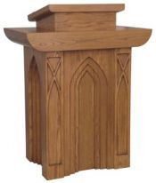 "Pulpit with two inside shelves  Dimensions: 46"" height, 36"" width, 24"" depth  Top: 22"" width, 20"" diameter"