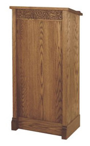 "Lectern with one inside shelf  Dimensions: 45"" height, 22"" width, 16"" depth"