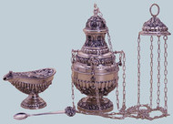 "Censer & Boat - Copper Silver Plate or Copper Brass Finish Baroque design. Censer measures 12 3/4"" Ht x 6 3/4"" dia. Boat measures 5 4 3/8"" Ht x 7 1/2"" Long. This product is made in Spain and may take 3-4 weeks for delivery."