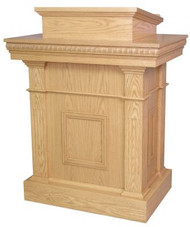 "Pulpit with two inside shelves  Dimensions: 46"" height, 36"" width, 24"" depth  Top: 24"" width, 20"" diameter"