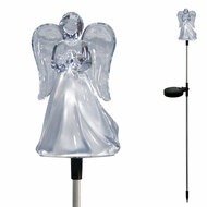 "4"" x 3"" x 34""H Acrylic LED lit Angel with metal stake. Charges during the day and illuminates at night. Ideal for garden landscapes, yards, porches, balconies, pathways, churches, cemeteries or memorial sites. Easy to install, no wiring required."