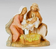"Holy Family 5"" scale figurines depict Mary and Joseph tenderly placing the newborn baby Jesus into a soft bed of hay.  The highly skilled artisans at Fontanini have painted this intricately detailed heirloom piece. Gift boxed with a story card."