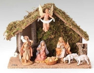 "Fontanini 7 Piece Nativity Set, including Silas the Shepherd. Dimensions of Stable: 10"" H X 13.75"" W X 6.5"" D. Wood, Moss, Bark and Polymer Materials."
