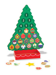 "Melissa and Doug Advent Calendar. Fun for all ages, this magnetic Countdown to Christmas Advent Calendar is the perfect way to prepare and get ready for Christmas day! The set includes 24 unique magnetic ornaments plus a shining star for Christmas day--all of which fit neatly in the attached box at the base of the tree.  Kids can hang tree ornaments every day as they count down for the days leading up to Christmas. They'll also love to switch, move, and rearrange the pieces to customize their very own tree countless times! Dimensions are 12"" X 16.5"". New This Year... the Baby Jesus and Merry Christmas pieces are included!"