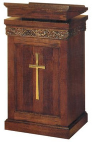 "Lectern with two inside shelves  Dimensions: 45"" height, 24"" width, 24"" diameter  Brass cross available at additional charge"