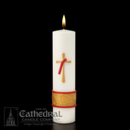 """This 3"""" x 12"""" Deacon Candle is perfect for gatherings during formation or as a commemorative gift or keepsake for the home. Hand decorated with a raised wax relief. Boxed."""