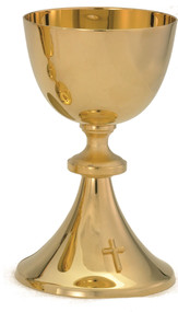 "24kt gold plate Chalice. Ht 7.5"" Holds up to 14oz. and a  5.5"" scale paten is  included"