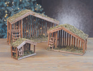 "Stables come in three sizes, Moss covered roofs.  Dimensions : The 7"" size accommodates 3"" or 4"" standing pieces. It measures 7.5  high x 8"" long x and 4"" deep. The 11"" stable accommodates up to 7"" or 8"" standing pieces and is the most popular size! It measures 11"" high x 16"" long x 6"" deep.The 16"" stable accommodates up to 12"" high figures and measures 16"" high x 24"" long x and 7"" deep."