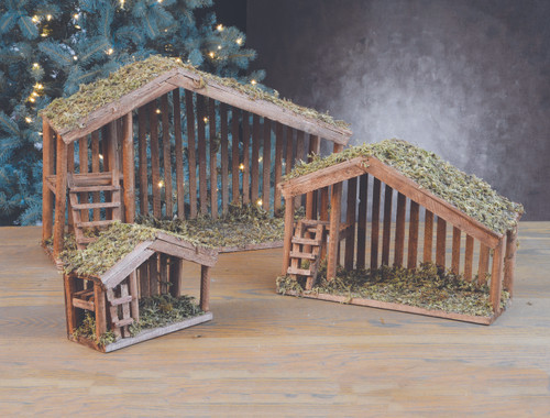 """Stables come in three sizes and have Moss covered roofs. Dimensions :  7"""" stable accommodates 3"""" or 4"""" standing pieces. It measures 7.5  high x 8"""" long x and 4"""" deep. 11"""" stable accommodates up to 7"""" or 8"""" standing pieces and is the most popular size! It measures 11"""" high x 16"""" long x 6"""" deep. 16"""" stable accommodates up to 12"""" high figures and measures 16"""" high x 24"""" long x and 7"""" deep."""
