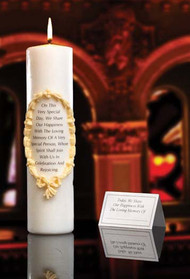 "3"" x 12"" S.H.E.  White Stearine Pillar. A fitting way to observe the spiritual presence of a deceased loved one. Verse on candle reads - ""On this very special day, We share our happinesss with the loving memory of a  very special person, Whose spirit will join us in celebration and rejoicing."" Comes with place card for personalization."