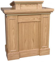 "Pulpit with rectangular trim columns, extended shelf for lamp and microphone. Two inside shelves for storage. Measures 40""w x 24""d x 46""h. Book rest measures: 24""W x 21""D"