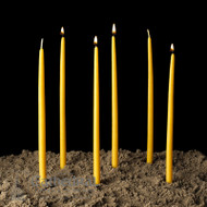 "These are traditional candles, made of 100% pure beeswax and unbleached so they retain the traditional color of candles used in Orthodox churches for centuries.  Three sizes 1/4""D x 11"" (600 candles per box), 3/8"" x 11"" (340 candles per box) or 7/16"" x 11"" (260 candles per box)."