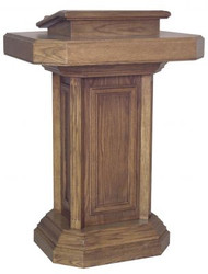 "Pedestal pulpit with drawer  Dimensions: 45"" height, 33"" width, 26"" depth"