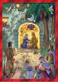 "Countdown the days until Christmas with this beautiful and detailed Advent calendar.  Each window opens to reveal a verse from the bible and a special picture.  The illustration shows the shepherds and Kings gathering around the Holy Family in the stable.  This Advent calendar can be hung or displayed anywhere and is accented in glitter for a better look.  This decorative Advent calendar is perfect for families. The colorful illustration is fun and detailed and shows the shepherd and the Kings watching as Mary and Joseph welcome baby Jesus into the world. The red border makes the calendar stand out and perfect to use as a decoration. The windows that countdown the day until Christmas open to reveal a special picture and a piece of text from the bible. Learn more about the Christmas story while you countdown the days! This Advent calendar measures 8 1/4""x11 3/4"". Easy to hang or display anywhere!"