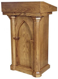"Lectern with two shelves  Dimensions: 46"" height, 28"" weight, 21"" depth  Brass Lamps and Symbols are available at a cost"