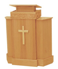 "Pulpit with one shelf  46"" height, 37"" width, 17"" depth  Book rest: 20"" width, 17"" depth  Brass lamps and/or symbols are available at a cost"