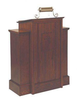 """Pulpit with one shelf  Dimensions: 45"""" height, 35"""" width, 18"""" depth  Top: 22"""" width, 18"""" depth  Brass lamps & symbols available for additional charge"""