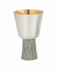 """Communion Cup in Silver Oxidised with a satin finish with gold-lined inner cup. Ht. 5 3/4"""" and holds 11oz."""