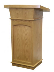 "Lectern with two inside shelves  Dimensions: 46"" height, 24"" width, 21"" depth  Brass Lamps and symbols are available at additional cost"