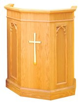 """Pulpit with two inside shelves  Dimensions: 45"""" height, 36"""" width, 21"""" diamter  Brass symbols and lamps available for additional charge"""