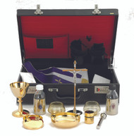 "24kt gold plate. Chalice Ht. 5 1/4"".. 4 oz.  Host Box Cap 55.  Cross Ht. 5 1/2"".  Cruets 5 oz.  Sprinkler 4 7/8"".  Open Cib. Ht. 4 1/2"".  Oil Stock 1 5/8"".  Case w/ lock 17 1/2"" x 12 1/2"""" x 5 1/2""."