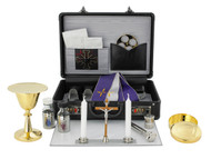 "24kt gold plate. Kit inlcudes:  Chalice Ht. 5"". 3 oz. with 4 1/8"" scale paten; Host box cap.25; 1 oz. Cruets; Candles 5 1/4""; Cross Ht. 4 3/4""; Sprinkler 4 7/8"";  Oil stock 1 5/8""; Case w/lock 12"" x 8 1/2"" x 4"". Made in Europe"