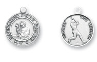 ".925 solid Sterling Silver St. Rita Medal made in the USA. The Round Medal is adorned with St. Rita. The reverse side of the medal portrays a baseball player. Dimensions: 1.0"" x 0.8"" (25mm x 20mm). Weight of medal: 4.3 Grams.  Medal comes on a 24"" genuine rhodium plated endless curb chain."
