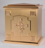 "Overall Dimensions: Height 22-1/2″, Width 20″, Depth 15-3/4″.  Door Opening Height 16 3/4"", Width 17 1/2"". Tabernacle is made of bronze, bas relief sculpted decoration of satin and high polish bronze finish.  Other finishing options available upon request.  Interior is lined with white silk and aromatic cedar.  Independent action doors, vault locks and a durable oven baked finish."