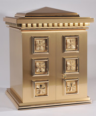 "Overall Dimensions: 22.75""H x 18.75""W x 15.D,  Door Opening: 14.3/8""H, 14.25W.  Tabernacle is made of bronze, bas relief sculpted decoration of satin and high polish bronze finish.  Other finishing options available upon request.  Interior is lined with white silk and aromatic cedar. Independent action doors, vault locks and a durable oven baked finish."