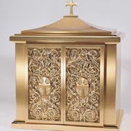 "Overall Dimensions: 25""H x 21.50""W x 15.5D,  Door Opening: 14.5""H, 13.5W.  Tabernacle is made of bronze, bas relief sculpted decoration of satin and high polish bronze finish.  Other finishing options available upon request.  Interior is lined with white silk and aromatic cedar.  Independent action doors, vault locks and a durable oven baked finish."
