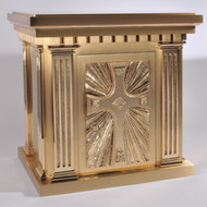 Overall Dimensisons: Height 21-3/4″, Width 22-1/2″, Depth 15-3/4″,  Door Opening: Height 15-1/4″, Width 10-3/4″. Tabernacle is made of bronze, bas relief sculpted decoration of satin and high polish bronze finish.  Other finishing options available upon request.  Interior is lined with white silk and aromatic cedar.  Independent action doors, vault locks and a durable oven baked finish.