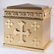 Overall Dimensions: Height 22″, Width 21-1/2″, Depth 14″,  Door Opening: Height 12-1/4″, Width 18-1/4″. Tabernacle is made of bronze, bas relief sculpted decoration of satin and high polish bronze finish.  Other finishing options available upon request.  Interior is lined with white silk and aromatic cedar.  Independent action doors, vault locks and a durable oven baked finish.