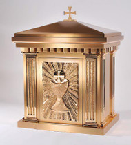 Overall Dimensions: Height 25″, Width 22-1/2″, Depth 15-1/4″,  Door Opening: Height 15-1/4″, Width 10-3/4″. Tabernacle is made of bronze, bas relief sculpted decoration of satin and high polish bronze finish.  Other finishing options available upon request.  Interior is lined with white silk and aromatic cedar.  Independent action doors, vault locks and a durable oven baked finish.