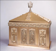 "Overall Dimensions: Height 31.5″, Width 29.25″, Depth 14.75″. Height without Dome is 16.75"". Tabernacle is made of statuary bronze finish, bas relief sculpted decoration.  Interior is lined with white silk and aromatic cedar. Double automatic action doors, vault locks and a durable oven baked finish."