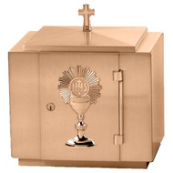 "16""W x 17""H x 12""D with vault lock.  Finished in a combination of high polish and satin with white fabric lining. Oven baked for durability. Supplied with two plain keys but fancy handled keys are available at an additional cost.  Call for quotes on brass or aluminum tabernacle. Made in the USA!!"