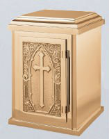 """17"""" H x 12"""" W x 12"""" D with vault lock.  High polish and Satin combo finish with white fabric lining.  Oven baked for durability. Supplied with two plain keys but fancy handled keys are available at an additional cost.  Call for quotes on brass or aluminum tabernacle. Made in the USA!!"""