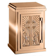 "17"" H x 12"" W x 12"" D with vault lock.  High polish or satin finish with white fabric lining.  Oven baked for durability. Supplied with two plain keys but fancy handled keys are available at an additional cost.  Call for quotes on brass or aluminum tabernacle. Made in the USA!!"