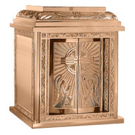 """24"""" H x 20"""" W x 20"""" D with double action doors and vault lock.  Available with High Polish Accents on satin housing or an all satin finish.  Inside of the tabernacle is a white fabric lining.  Oven baked for durability. Supplied with two plain keys but fancy handled keys are available at an additional cost.  Call for quotes on brass or aluminum tabernacle. Made in the USA!!"""